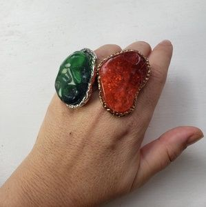 Set of 2 faux agate cocktail rings